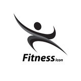 Logo di forma fisica con l'icona sana astratta di benessere del corpo Illustrazione di vettore Immagini Stock