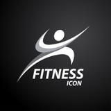 Logo di forma fisica con l'icona sana astratta di benessere del corpo Illustrazione di vettore Fotografia Stock Libera da Diritti