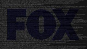 Logo di Fox Broadcasting Company fatto del codice sorgente sullo schermo di computer Animazione loopable editoriale archivi video