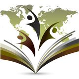 Logo di istruzione del mondo su terra posteriore bianca illustrazione di stock