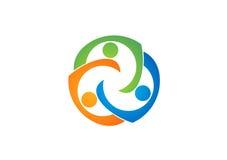 Logo di istruzione di lavoro di squadra, sociale, gruppo, rete, progettazione, vettore, logotype, illustrazione Fotografia Stock