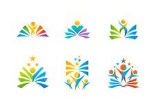 logo di istruzione, libri di lettura iconici dello studente di progettazione di vettore di simbolo Immagini Stock
