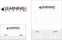 Logo di istruzione scolastica del centro di apprendimento, biglietti da visita 2 x 3 5, aletta di filatoio 4 25 x 5 5 Fotografia Stock