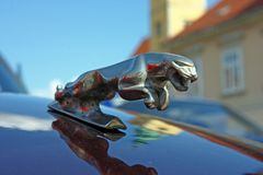Logo di Jaguar 3D sull'automobile del classico di Jaguar XJ6 Immagini Stock Libere da Diritti