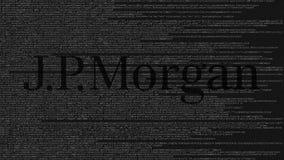 Logo di JPMorgan fatto del codice sorgente sullo schermo di computer Animazione loopable editoriale archivi video