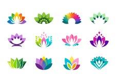 Logo di Lotus, progettazione di vettore del logotype dei fiori di loto Fotografie Stock Libere da Diritti