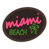 Logo di Miami Beach, stile del fumetto Fotografie Stock Libere da Diritti