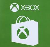 Logo di Microsoft Xbox stampato su una carta Fotografie Stock Libere da Diritti