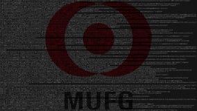 Logo di Mitsubishi UFJ Financial Group MUFG fatto del codice sorgente sullo schermo di computer Animazione loopable editoriale archivi video