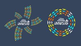 Logo di musica con l'icona Immagine Stock Libera da Diritti