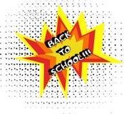 Logo di nuovo alla scuola nello stile di Pop art illustrazione di stock