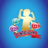 Logo di Omega o del calcio e della vitamina per i prodotti dei bambini illustrazione vettoriale