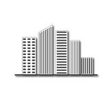 Logo di palazzo multipiano del bene immobile di progettazione di architettura delle costruzioni Immagine Stock
