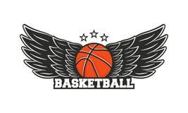Logo di pallacanestro Palla di pallacanestro con le ali Illustrazione di vettore royalty illustrazione gratis