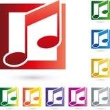 Logo di partitura, di musica e delle note di musica Fotografia Stock