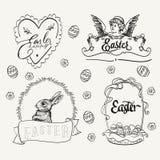 Logo di Pasqua fissato nello stile d'annata Disegnato a mano Immagini Stock Libere da Diritti