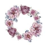 Logo di peone con i fiori Fotografia Stock