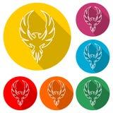 Logo di Phoenix, icona di Phoenix, insieme di colore con ombra lunga illustrazione vettoriale
