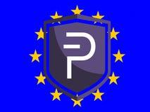 Logo di PIVX sulla bandiera europea fotografia stock libera da diritti