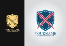 Logo di progettazione della spada dello schermo royalty illustrazione gratis
