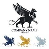 Logo di progettazione di Griffin Mythical Creature Emblem Vector immagini stock