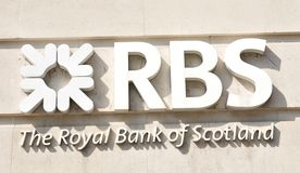 Logo di RBS (Royal Bank della Scozia) Fotografia Stock