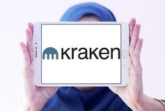 Logo di scambio del bitcoin di Kraken Fotografie Stock