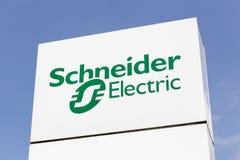 Logo di Schneider Electric su un pannello Fotografie Stock Libere da Diritti