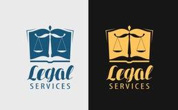 Logo di Servizi Giuridici Notaio, giustizia, icona dell'avvocato o simbolo Illustrazione di vettore illustrazione vettoriale