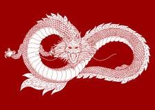 Logo di simbolo del segno del drago, forma di infinito, illustrazione disegnata a mano di vettore Fotografie Stock