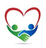 Logo di simbolo di amore della stretta di mano Immagini Stock