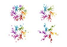 Logo di successo della stella del lavoro di gruppo illustrazione di stock