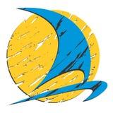 Logo di Sun con un'imbarcazione a vela Immagine Stock