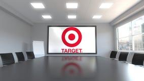 Logo di Target Corporation sullo schermo in una sala riunioni Rappresentazione editoriale 3D Immagini Stock Libere da Diritti
