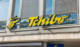 Logo di Tchibo su un negozio fotografia stock libera da diritti