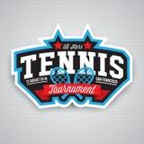 Logo di tennis, distintivo, modello di progettazione Fotografie Stock Libere da Diritti