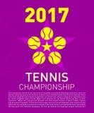 Logo di tennis e composizione nel testo per l'avvenimento sportivo Fotografie Stock Libere da Diritti