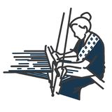 Logo di tessitura e vettore marcante a caldo indaco illustrazione di stock