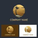 Logo di tramonto della palma royalty illustrazione gratis