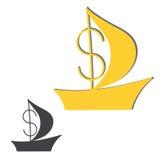 Logo di una barca con una vela e un dollaro Fotografie Stock