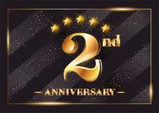 Logo di vettore di celebrazione di anniversario di 2 anni Secondo anniversario illustrazione di stock