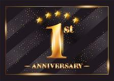 Logo di vettore di celebrazione di anniversario di 1 anno Primo anniversario royalty illustrazione gratis