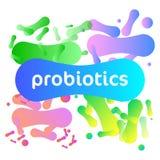 Logo di vettore dei batteri di probiotici illustrazione di stock