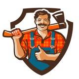 Logo di vettore del boscaiolo icona del silvicoltore o del taglialegna illustrazione di stock