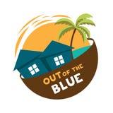 Logo di vettore del cottage dell'isola dal nulla Immagine Stock