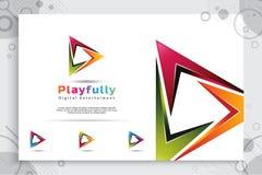 Logo di vettore del gioco di Digital con stile moderno di progettazione 3d e stile moderno di colore illustrazione creativa digit immagine stock