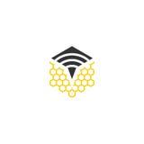 Logo di vettore dell'ape del segnale Immagine Stock