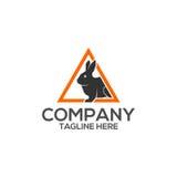 Logo di vettore dell'icona del coniglio del triangolo Immagine Stock