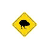 Logo di vettore dell'icona del segnale stradale dell'uccello del kiwi Fotografie Stock Libere da Diritti