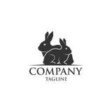 Logo di vettore dell'icona di due conigli Fotografie Stock